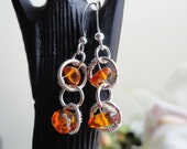 Amber earrings - amber chip earrings - baltic amber - amber hoop earrings - wire wrapped - genuine amber - wire wrapped amber