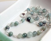 Aquamarine necklace - sterling silver necklace - station necklace - rosary necklace - meditation necklace - moss aquamarine