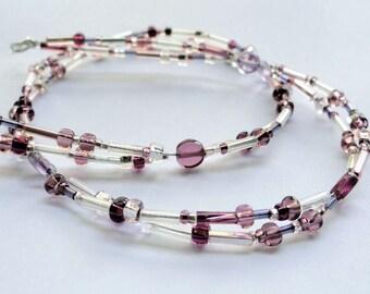 Purple necklace - purple bead necklace - glass bead necklace - sparkly necklace - purple disc necklace