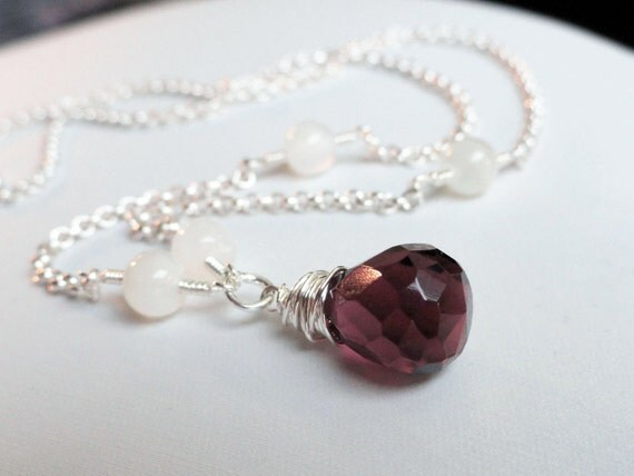 Amethyst necklace - amethyst pendant - purple necklace - amethyst briolette - moonstone necklace - rustic wire necklace - wire wrapped