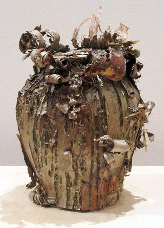 "Natural  Birchbark Vase, ""Birch Curls"", Organic Vessel, Spring Sale, Take 20% off"