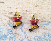 Enameled/Painted/Colored Beach Pail and Shovel Charms --2 pieces-(Nickel Plated)--style 986-
