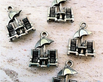 Lounge Chairs & Umbrella Charms -5 pieces-(Antique Pewter Silver Finish)--style 617--Free combined shipping