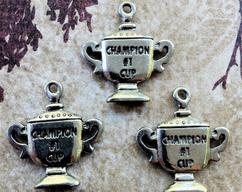 Champion Cup Charms -3 pieces-(Antique Pewter Silver Finish)--style 661--Free combined shipping