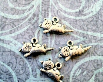 Sleeping Kitty Charms -4 pieces-(Antique Pewter Silver Finish)--style 700--