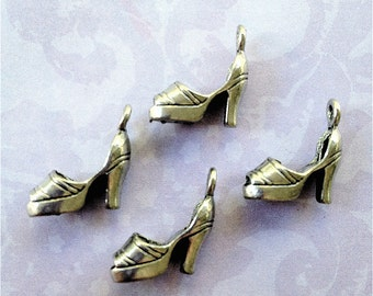 Wedge Shoe Charms -4 pieces-(Antique Pewter Silver Finish)--style 723--