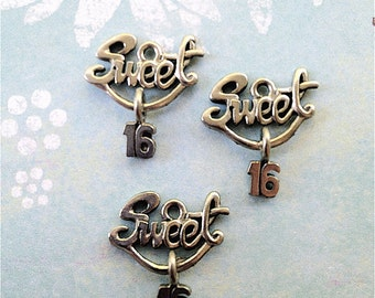 Sweet 16 Charms -4 pieces-(Antique Pewter Silver Finish)--style 726--