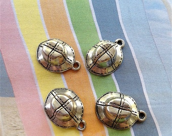 Floppy Hat Charms --4 pieces-(Antique Pewter Silver Finish)--style 902-