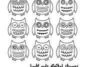 owl digital stamps, owls digistamps, cute baby woodland forest owls, instant download png files transparent background - 1204
