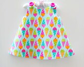 Ice Cream - Dessert Party Cones in Summer - Jumper Dress - Summer Dress - Spring - Etsy Baby - Newborn Dress Pattern - 3M to 4T