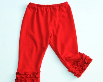 Girls Capris - Cotton Knit - Double Ruffle Capris - Custom Made - Girls Pants Pattern - 12M to 6T - Red, Fuchsia, White and Ivory colors