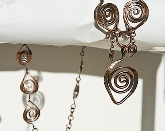 """Copper Necklace Leaf Chain Autumn Leaves Fall Celtic Spirals 22"""" Necklace"""