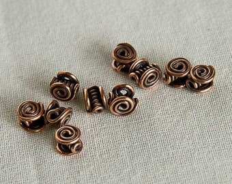 "Copper Celtic Beads - Celtic Spiral Beads 1/4"" Pack of 10"