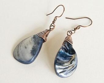 Copper Wire Wrapped Earrings Blue Teardrop Shell Effect Pendant Earrings Upcycled Antiqued Copper Custom Copper Findings