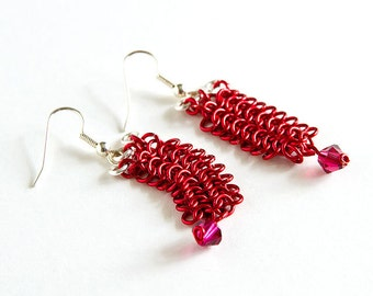 Red Chainmaille Earrings Fuschia Crystals European 4 in 1 Chain Mail Red & Silver Plated Earrings