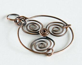 Copper Pendant Triskele Celtic Triskelion Celtic Spirals Pendant Only