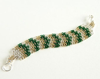 """Colourful Chainmaille Bracelet Green Brass Silver Chevron Pattern European 4 in 1 - 7 1/2"""" Chain Maille Mail Bracelet"""