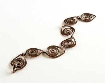 "Copper Bracelet Leaf Chain ft. Celtic Spirals Antiqued Copper 7 Link 7 3/4"" Leaf Bracelet"