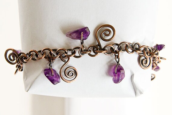 "Copper Bracelet Charm Bracelet Celtic Spirals Amethyst Charms Antiqued Copper 7.5"" Bracelet"