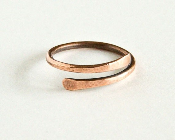 Adjustable Copper Ring Overlapping Thumb Ring Copper Wire Antiqued Copper Nominal US Size 11 UK Size 'V 1/2'