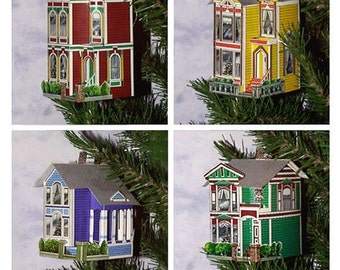 Victorian House Pop-Up Card Ornament Greeting Cards / Set of 4