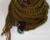 Skinny Scarf:  Crochet Chain in Antique Taupe - Six Strands with multi-colored ties