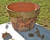 SAFARI DECOUPAGE POT / Animal Print Style / Giraffe / Zebra / Safari Pot / Lion / African Style / Safari Clay Pot / Housewares Africa Style