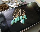 SALE 15% OFF Lotus Turquoise Vintage Glass 22k Gold Vermeil Dangle Earrings