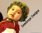 Crochet Baby Earflap Hat Green Beanie Winter Hat Children Newborn Toddler Photoprop Dewdrops Designs Trendy