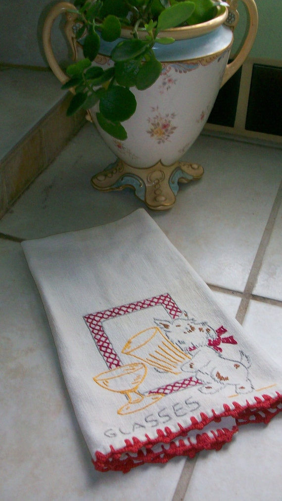 Cute bar or tea towel with embroidered Scotch Dog with wine and beer glass with lace trims