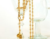 Skull Rosary Champagne Crystal and Gold Skull Adjustable Extra Long Rosary Style Necklace