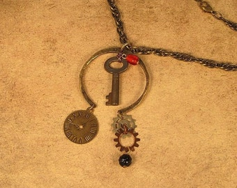 Steampunk Pendant with Vintage Key