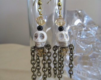 Skull Earrings - Antique Brass and Whit