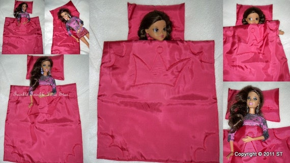 Barbie dolls/ bratz dolls fancy PRINCESS BLANKET and PILLOW, Eco friendly, handmade, pink, beddings, gift idea for girl, birthday gift