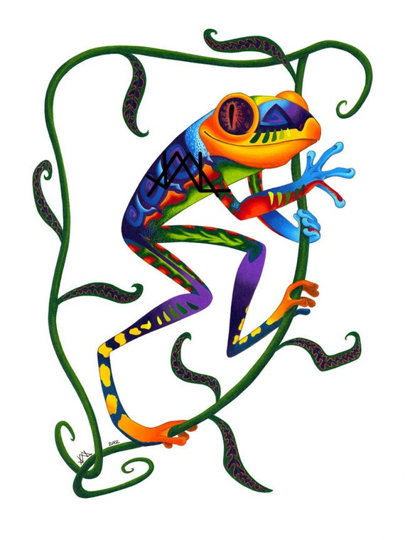 """Oaxacan Tree Frog original colored pencil painting 11"""" x 17"""" prints"""