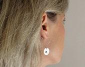 Personalized Earrings - Sterling Silver Hand Stamped Earrings - Initial Engraved Dangle Earrings