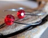 Red Crystal Oxidized Sterling Silver Hoop Earrings - Elegant Medium Hoops - Rounded Earrings w/h faceted crystal