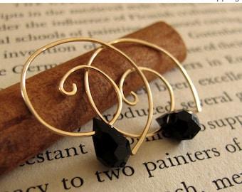 14K Gold Filled Spiral Earrings & Black Swarovski crystal.Gold Swirl Earrings - Tear Drop Crystal Earrings - Swirl hoop earrings. Everyday