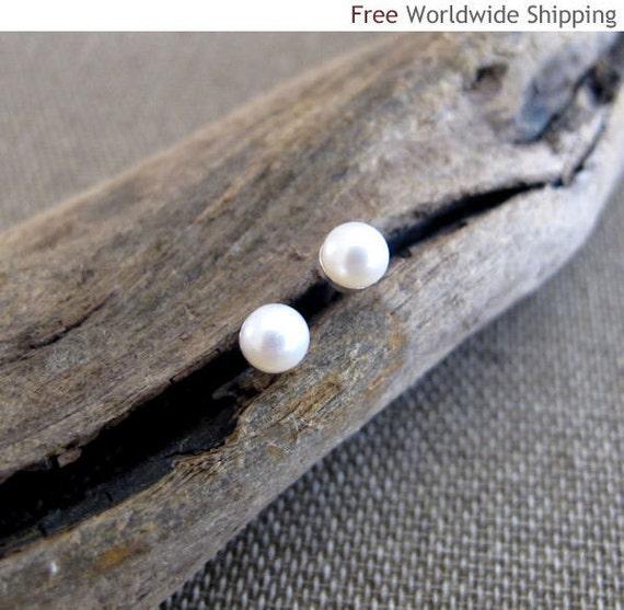 Pearl Stud Earrings - Sterling Silver Post Earrings - White Freshwater Pearl 5-6mm - Pearl Earrings - Summer Earrings - Pearl Studs for Her