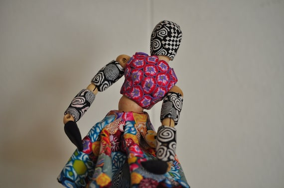 Bohemian Harlequin Dancer in Polymer Clay