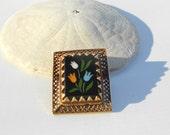 Antique Brooch, 14k gold Brooch, Pietra Dura pin pendant, victorian brooch, fine jewelry Italian mosaic