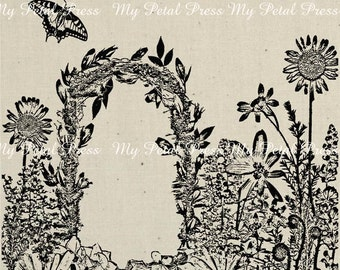 Art Print on Fabric Graphique garden Queen anns lace Pansy wreath