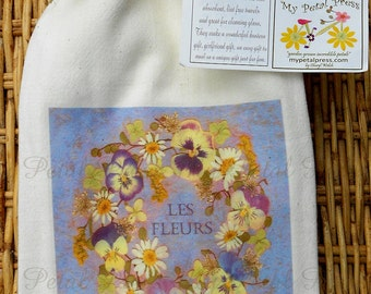 Flour Sack Tea Towels, Pansy Wreath, Graphique Blue and White, Breast Cancer Symbol