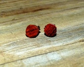 Wood Stud Earrings Handmade Cocobolo Wood w/ SS Posts