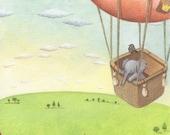 Nursery Art, Elephant in Hot Air balloon, Baby Elephant, Nursery Decor, Newborn Art, Unisex Nursery Art, Watercolor Print, Baby Gift