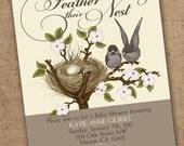Cute lil birds feather nest shower invitation - Printable
