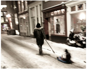 Extra Large Wall Art-Amsterdam Winter Photo-Woman and Child Pulling Sleigh-Sepia Tone-Home Decor-Fine Art Photography Print-20x30