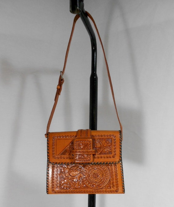 1970s Tooled Leather Purse - Tan Leather - Shoulder Bag - Mexican - Floral
