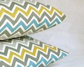 Blue Grey Throw Pillow Cover, Chevron, Optional Zipper - 18x18 or 20x20 inch Decorative Toss Cushion Cover - Blue Yellow Grey Zig Zag