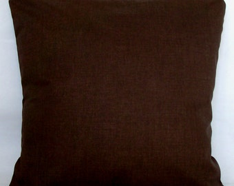 Brown Toss Pillow Cover - 18x18 or 20x20 inch Decorative Throw Cushion Cover - Solid Dark Chocolate Brown